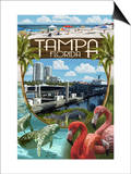 Tampa, Florida - Montage Art by  Lantern Press