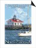 Roanoke Marshes Lighthouse - Outer Banks, North Carolina Poster by  Lantern Press
