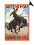 Jackson Hole, Wyoming Bucking Bronco Print by  Lantern Press