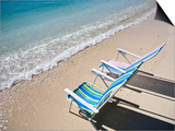 Beach Chairs on Shore Prints by Micah Wright