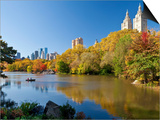 Central Park and Buildings Viewed Across Lake in Autumn, Manhattan, New York City Prints by Gavin Hellier