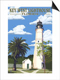 Key West Lighthouse, Florida Day Scene Poster by  Lantern Press