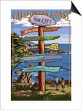 Monterey, California - Destination Sign Print by  Lantern Press