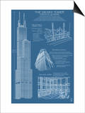 Sears Tower Blue Print - Chicago, Il, c.2009 Posters by  Lantern Press