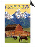 Grand Teton National Park - Barn and Mountains Posters by  Lantern Press