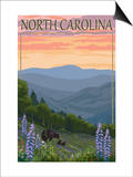 North Carolina - Bear and Cubs with Spring Flowers Prints by  Lantern Press