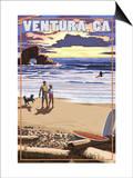 Ventura, California - Surfing Beach Scene Print