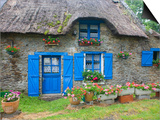 Thatched Cottage with Blue Doors, Windows and Pots of Geraniums Near Marzan Posters by Barbara Van Zanten