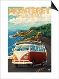 Monterey, California - VW Van Prints by  Lantern Press