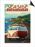 VW Van Coastal Drive - Seaside, Oregon Prints by  Lantern Press