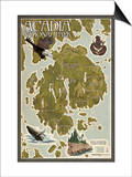 Acadia National Park, Maine - Map Art by  Lantern Press