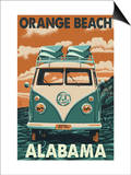 Orange Beach, Alabama - VW Van Prints by  Lantern Press
