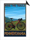 Pennsylvania - Mountain Bike Scene Poster by  Lantern Press