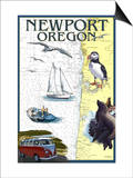 Newport, Oregon - Nautical Chart Posters by  Lantern Press