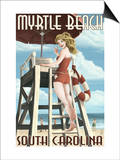 Myrtle Beach, South Carolina - Pinup Girl Lifeguard Art by  Lantern Press