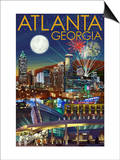 Atlanta, Georgia - Skyline at Night Posters by  Lantern Press