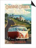 Orange County, California - VW Van Cruise Art by  Lantern Press