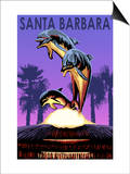 Santa Barbara, California - Dolphin Sculpture Art by  Lantern Press