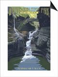Watkins Glen State Park, New York - Rainbow Falls Láminas por  Lantern Press