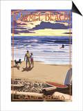 Carmel Beach, California - Sunset Beach Scene Print by  Lantern Press