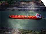 Cargo Ship at Gaillard Cut on the Panama Canal, Near Gamboa, Gamboa, Panama Posters by Alfredo Maiquez