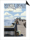 Myrtle Beach, South Carolina - Pier Scene Poster by  Lantern Press