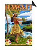 Hawaii Hula Girl on Coast Posters by  Lantern Press
