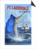 Ft. Lauderdale, Florida - Sailfish Scene Prints by  Lantern Press