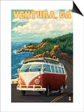 Ventura, California - VW Van Drive Prints by  Lantern Press