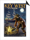 Key West, Florida - Pirate and Treasure Prints by  Lantern Press