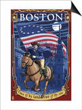 Old North Church and Paul Revere - Boston, MA Posters by  Lantern Press