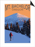 Mt. Bachelor and Skier - Oregon Prints by  Lantern Press