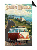 Santa Monica, California - VW Van Cruise Poster by  Lantern Press