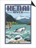Kenai River, Alaska - Salmon Fisherman Art by  Lantern Press