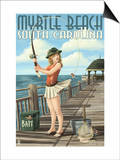 Myrtle Beach, South Carolina - Pinup Girl Fishing Posters by  Lantern Press