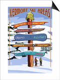 Vermont - Ski Areas Sign Destinations Print by  Lantern Press