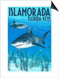 Islamorada, Florida Keys - Tiger Shark Art by  Lantern Press