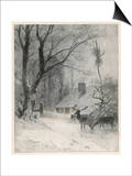 In the Cold Weather the Wild Deer Come Closer to the House Posters by Carl Frederic Aagaard