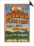 Georgia - Peach Farm Poster by  Lantern Press