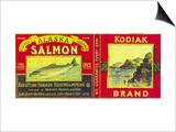 Kodiak Salmon Can Label - Kodiak Island, AK Posters by  Lantern Press