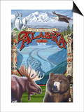Alaska Scenes Montage Art by  Lantern Press