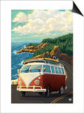 VW Van on Coast Poster by  Lantern Press