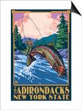 The Adirondacks, New York State - Fly Fisherman Art by  Lantern Press