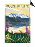 Mount St. Helens, Washington - Spirit Lake Print by  Lantern Press