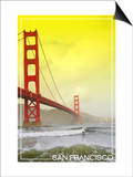 San Francisco, California - Golden Gate Bridge Yellow Sky Print by  Lantern Press