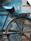 Bicycle Leaning Against Painted Wall Prints by April Maciborka