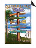Santa Barbara, California - Sign Destinations Poster by  Lantern Press