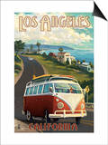 Los Angeles, California - VW Van Cruise Posters by  Lantern Press