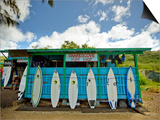 Sharks Cove Surf Shop with New Surfboards Lined Up at Front Posters by Merten Snijders