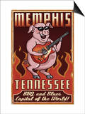 Memphis, Tennessee - Guitar Pig Art by  Lantern Press